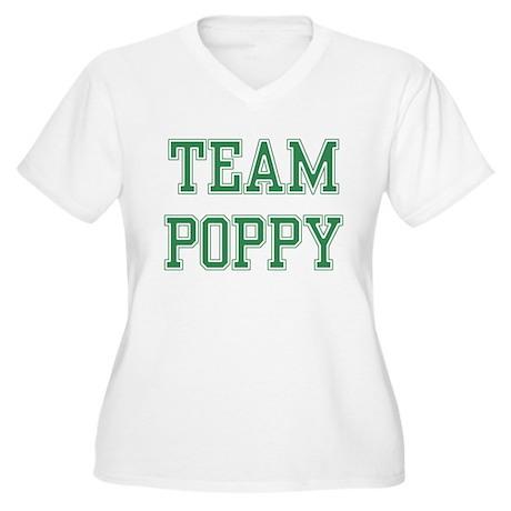 TEAM POPPY Women's Plus Size V-Neck T-Shirt