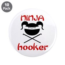 """ninja hooker (crochet) 3.5"""" Button (10 pack)"""