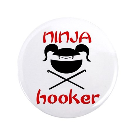 "ninja hooker (crochet) 3.5"" Button"