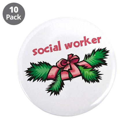 """Social Worker Pine 3.5"""" Button (10 pack)"""