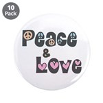 Peace and Love Large Buttons (10 pk)