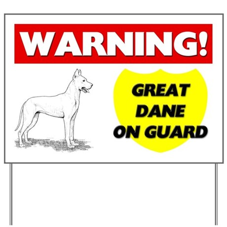 Warning Great Dane On Guard Yard Sign