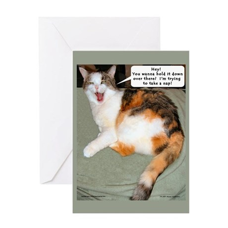 Calico Catnap Blank Greeting Card