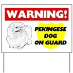 Warning Pekingese Dog On Guard Yard Sign