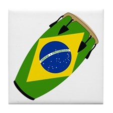 Conga Brazil Flag music Tile Coaster