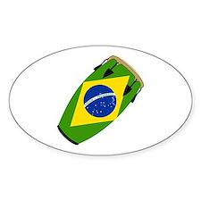 Conga Brazil Flag music Oval Decal