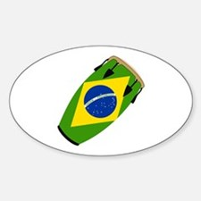 Conga Brazil Flag music Oval Decal