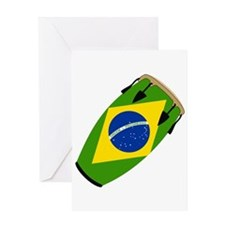 Conga Brazil Flag music Greeting Card