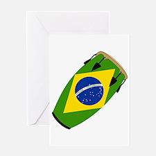 Conga Brazil Flag music Greeting Card