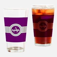 Purple Gray Monogram Personalized Drinking Glass