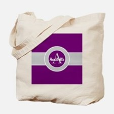 Purple Gray Monogram Personalized Tote Bag