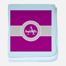 Purple Gray Monogram Personalized baby blanket