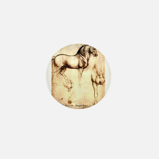 Leonardo da Vinci Study of Horses Mini Button