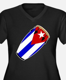 Conga Cuba Flag music Women's Plus Size V-Neck Dar