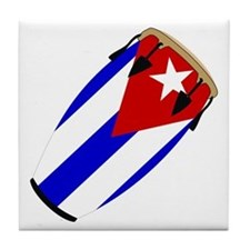 Conga Cuba Flag music Tile Coaster
