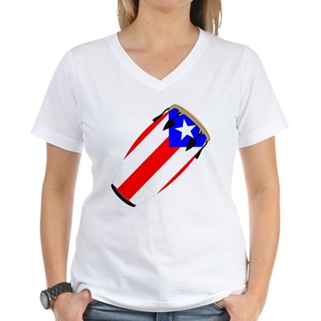 Conga Puerto Rico Flag Women's V-Neck T-Shirt