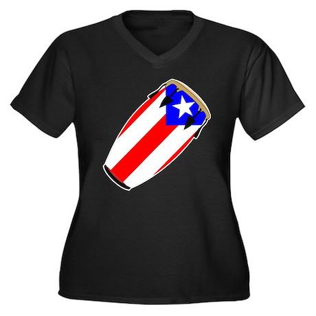 Conga Puerto Rico Flag Women's Plus Size V-Neck Da