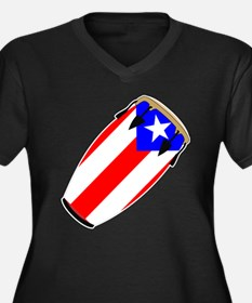 Conga Puerto Rico Flag Women's Plus Size V-Neck Da
