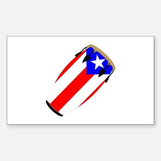 Conga Puerto Rico Flag Rectangle Decal