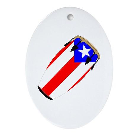 Conga Puerto Rico Flag Oval Ornament