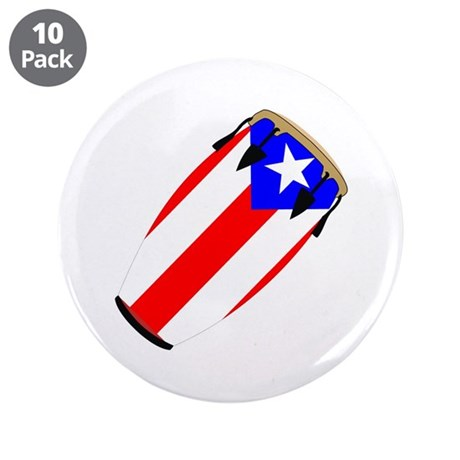 """Conga Puerto Rico Flag 3.5"""" Button (10 pack)"""