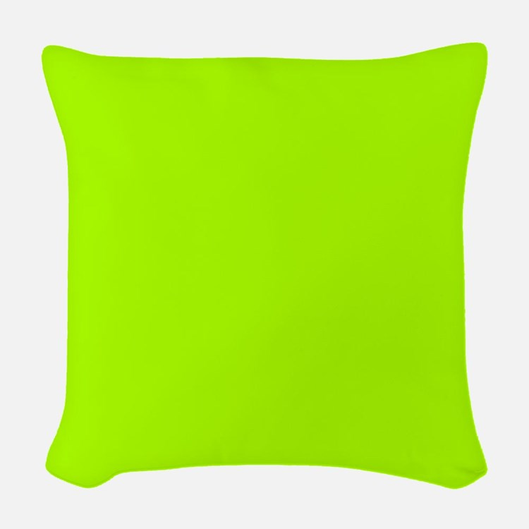 Fluorescent Green Solid Color Woven Throw Pillow