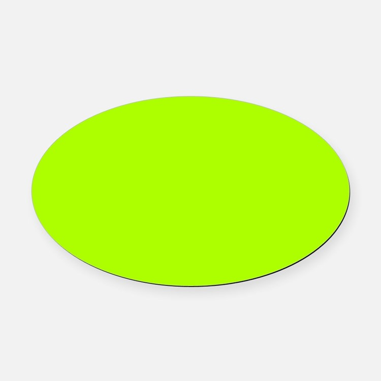 Fluorescent Green Solid Color Oval Car Magnet