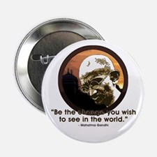 """Gandhi - India - Be The Change 2.25"""" Button"""