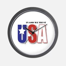 USA In God We Trust Wall Clock