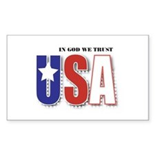 USA In God We Trust Rectangle Stickers
