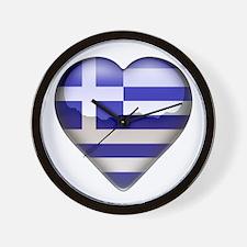 Greece Heart Wall Clock