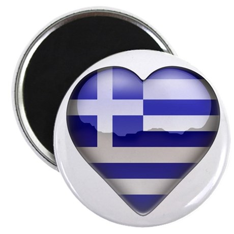 "Greece Heart 2.25"" Magnet (100 pack)"