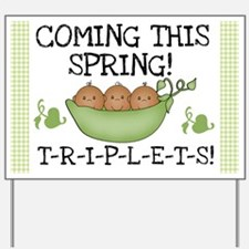 Triplets Coming This Spring Yard Sign