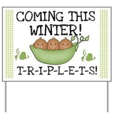Triplets Coming This Winter Yard Sign