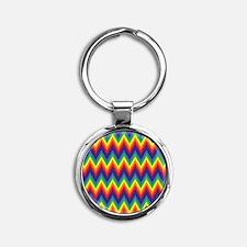 Rainbow Chevron Round Keychain