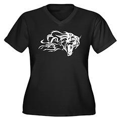Tiger Tattoo Women's Plus Size V-Neck Dark T-Shirt
