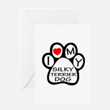 I Love My Silky Terrier Dog Greeting Card