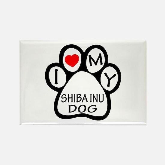 I Love My Shiba Inu Dog Rectangle Magnet