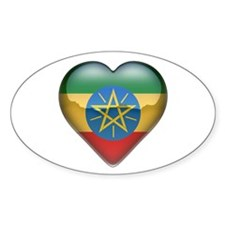 Ethiopia Heart Oval Decal