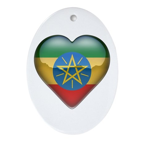 Ethiopia Heart Oval Ornament