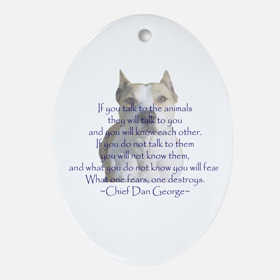 Cute American staffordshire terrier Oval Ornament