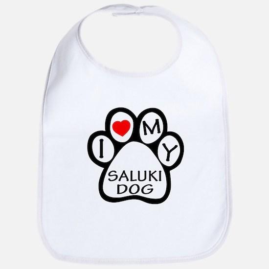I Love My Saluki Dog Bib