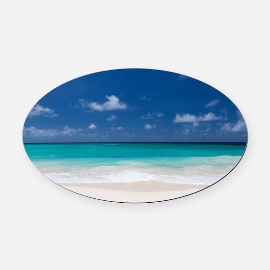 Beautiful Beach Tropical Oval Car Magnet