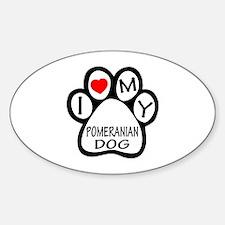 I Love My Pomeranian Dog Sticker (Oval)