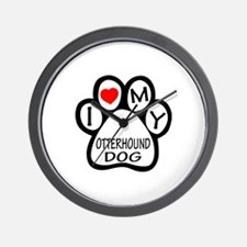 I Love My Otterhound Dog Wall Clock