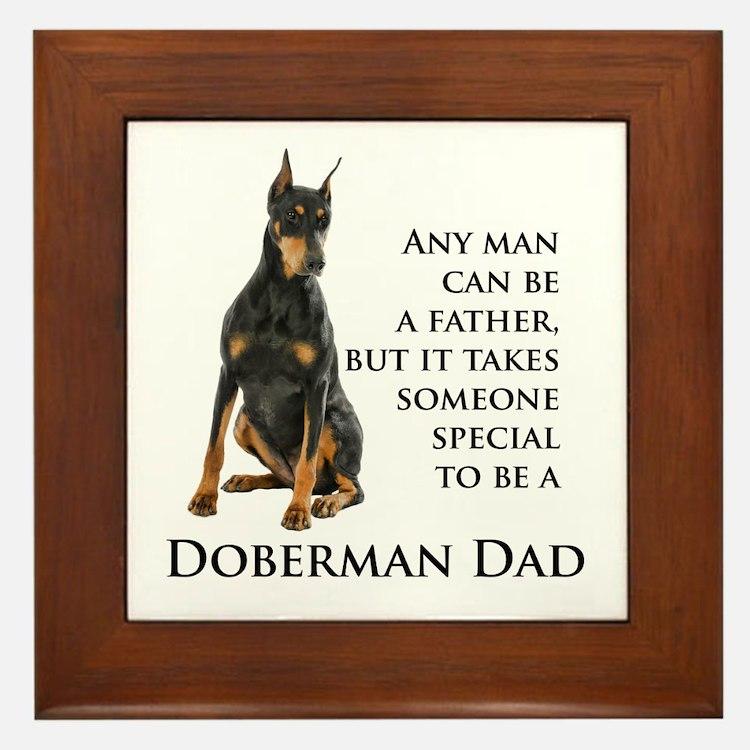 Doberman Dad Framed Tile