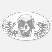 Winged Skull Oval Decal