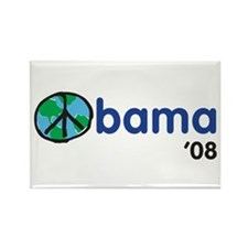 Obama 08 Light Rectangle Magnet