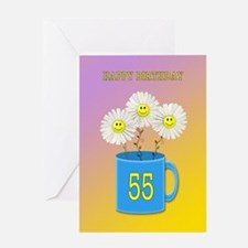 55th birthday, smiling daisy flowers Greeting Card