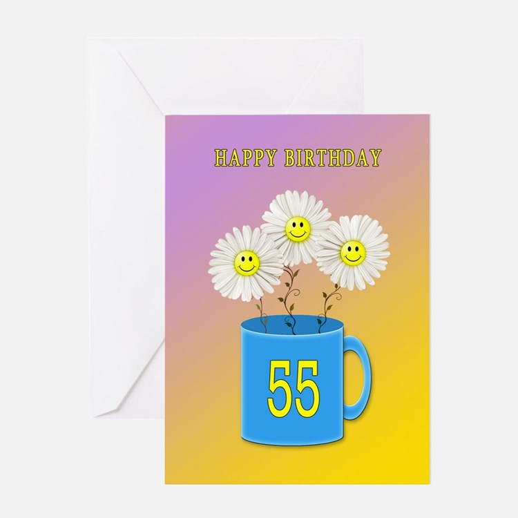 55th birthday, smiling daisy flowers Greeting Card